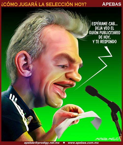 La selección es sólo mercadotecnia, hasta las declaraciones de Aguirre son parte de una campaña de Adidas. Cartón tomado de http://www.apebas.com.mx/