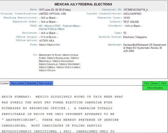 Cable en donde la embajada norteamericana analiza las elecciones de 1973